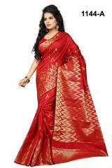 Mahadev Enterprises Red Banarasi Silk Saree with blouse RJM1144A