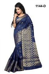 Mahadev Enterprises Blue Banarasi Silk Saree with blouse RJM1144D