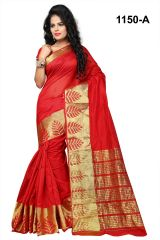 Mahadev Enterprises Red Banarasi Silk Weaving Saree with blouse RJM1150A