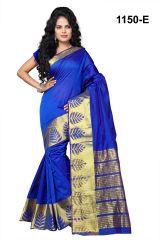 Mahadev Enterprises Blue Banarasi Silk Weaving Saree with blouse RJM1150E