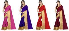 Mahadev Enterprises Multicolor Cotton Silk Saree ( 4 Combo Saree ) With Unstitched Blouse Pics Akm2438 - Mother's Day