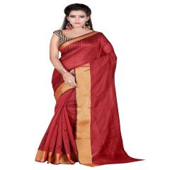 Mahadev Enterprises Red Bangalory Silk Saree With Unstitched Blouse Pics (Code - M3BSR06 )