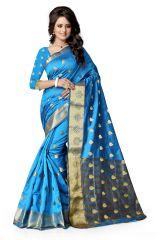 Mahadev Enterprises Rama_Green Color Art Cotton Silk Saree With Unstitched Blouse Pics BVM510