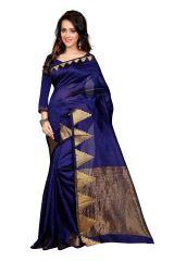 Mahadev Enterprises Blue Color Art Cotton Silk Saree Embrodery Work With Unstitched Blouse Pics BVM532