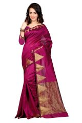 Mahadev Enterprises Maroon Color Art Cotton Silk Saree Embrodery Work With Unstitched Blouse Pics BVM533