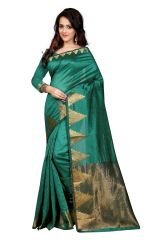 Mahadev Enterprises Green Color Art Cotton Silk Saree Embrodery Work With Unstitched Blouse Pics BVM534