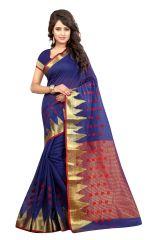 Mahadev Enterprises Blue Color Art Cotton Silk Saree Embrodery Work With Unstitched Blouse Pics BVM536