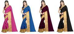 Mahadev Enterprises Multicolor Cotton Silk Saree ( 4 Combo Saree ) With Unstitched Blouse Pics Akm871112 - Mother's Day