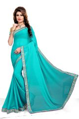 Mahadev Enterpris Sea_Green Color Nazmin Saree With Unstitched Blouse PicsMRV108