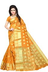 Mahadev Enterpries  Yellow Cotton Silk saree With Running Blouse ( CODE- BBC111D )