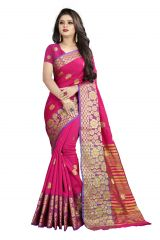 Mahadev Enterprises Pink Cotton Silk Weaving Saree With Running Blouse Pics ( Code - BBC113A )
