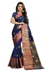 Mahadev Enterprises Navy_Blue Cotton Silk Weaving Saree With Running Blouse Pics ( Code - BBC113B )