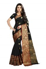 Mahadev Enterprises Black Cotton Silk Weaving Saree With Running Blouse Pics ( Code - BBC113D )