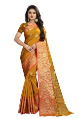 Mahadev Enterprises Mustard Cotton Silk Weaving Saree With Running Blouse Pics ( Code - BBC113E )