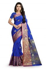 Mahadev Enterprises Royal Blue Cotton Silk Weaving Saree With Running Blouse Pics ( Code - BBC113F )