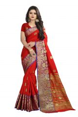Mahadev Enterprises Red Cotton Silk Weaving Saree With Running Blouse Pics ( Code - BBC113G )