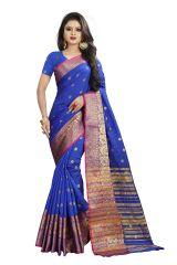 Mahadev Enterprises Blue Cotton Silk Weaving Saree With Running Blouse Pics ( Code - BBC114E )