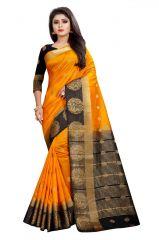 Mahadev Enterprises Orange And Black Kanjiwaram Silk Saree With Running Blouse Pics ( Code -bbc129e)