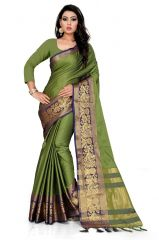Mahadev Enterprise Green And Blue Soft Cotton Silk Saree With Running Blouse Pics ( Code -BBC141D)