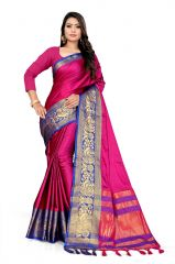 Mahadev Enterprise Pink And Blue Soft Cotton Silk Saree With Running Blouse Pics ( Code -BBC141E)