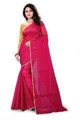 Cotton Sarees - Mahadev Enterprises Pink Color Cotton Saree With Unstitched Blouse Pics RVD1037A