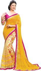 Georgette Sarees - Mahadev Enterprises Yellow Colour Georgatte & Haff-Haff Net Saree GFS_1696