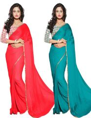 Mahadev Enterprises Red & Rama Color Nazmin Plain Saree ( Combo Offer ) With Unstitched Blouse Pics Mgm810 - Mother's Day