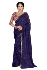 Mahadev Enterprises Navy_Blue Fancy Nazneen Weaving Saree With Unstitched Blouse Pics ( Code - M6GM04 )