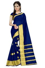 Mahadev Enterprises Navy_Blue Colour Cotton Jari Embroidered Work Saree With Unstitched Blouse Pics MEG05
