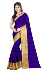 Mahadev Enterprises Blue Color Cotton Silk Saree With Unstitched Blouse Pics AKM03