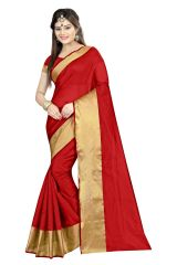 Mahadev Enterprises Red Color Cotton Silk Saree With Unstitched Blouse Pics AKM04