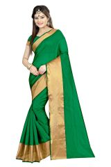 Mahadev Enterprises  Sea_Green Color Cotton Silk Saree With Unstitched Blouse Pics AKM05