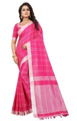 Mahadev Enterprises Pink Lilen Saree With Blouse ( Code - NC139 )