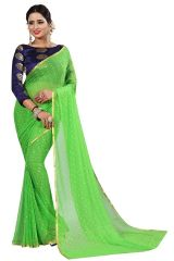 Mahadev Enterprise Perrot Green Nazneen Chiffon Saree  With Running Blouse Pics ( Code - NC144)