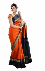 Mother's Day Gifts   Apparels - Mahadev Enterprises Orange Color Bhagalpuri Silk Saree With Unstitched Blouse Pics MNCS1805