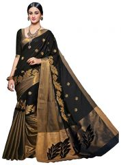 Mahadev Enterprises Black Embroidered Work Cotton Silk Saree Pf02