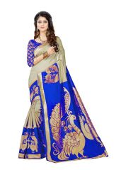 Mahadev Enterprises Chicku & Blue Super Stabery Soft Silk Saree With Unstitched Blouse Piece (Code - PF169)