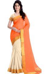 Mahadev Enterprises Orange Color Cotton Silk Saree With Unstitched Blouse Pics PF17