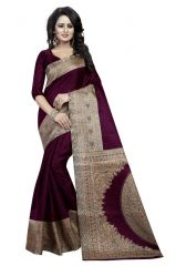 Mahadev Enterprises Brown Bhagalpuri Silk Saree With Unstitched Blouse Piece(Code - PF189)