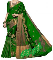 Sarees - Mahadev Enterprises Green color Cotton Silk Embroidery Work Saree With Unstitched Blouse Pics PF38
