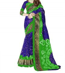 Mahadev Enterprises Green & Blue Bhagalpuri Saree With Blouse PF80