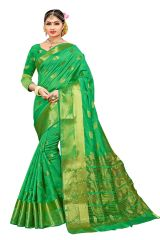 Mahadev Enterprise Green Banarasi Cotton Silk Saree With Running Blouse Pics ( Code - RJM101)