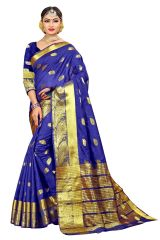 Mahadev Enterprise Blue Banarasi Cotton Silk Saree With Running Blouse Pics ( Code - RJM105)