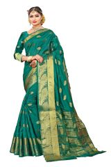 Mahadev Enterprise Olive Green Banarasi Cotton Silk Saree With Running Blouse Pics ( Code - RJM108)