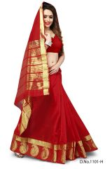 Mahadev Enterprises Red Color Banarasi Silk Weaving Saree With Blouse RJM1101H