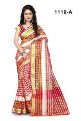 Mahadev Enterprises Red Color Cotton Checks Saree With Unstitched Blouse Pics Rjm1116a - Mother's Day