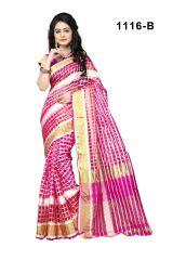Mahadev Enterprises Pink Color Cotton Checks Saree With Unstitched Blouse Pics Rjm1116b - Mother's Day