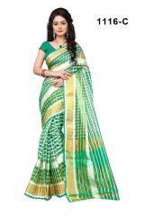 Mahadev Enterprises Green Color Cotton Checks Saree With Unstitched Blouse Pics Rjm1116c - Mother's Day