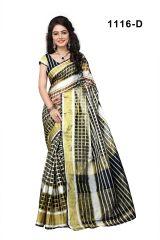 Mother's Day Gifts   Apparels - Mahadev Enterprises Black Color Cotton Checks Saree With Unstitched Blouse Pics RJM1116D
