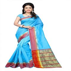 Mahadev Enterprises Sky Blue  Cotton Silk Weaving Saree With Running Blouse Pics ( Code - RJM1128C )